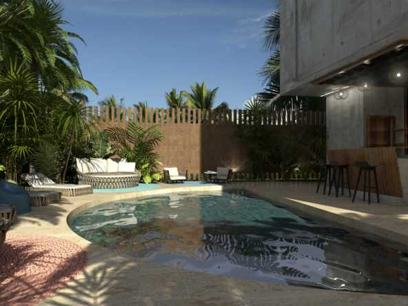 Adult swimming pool with bar